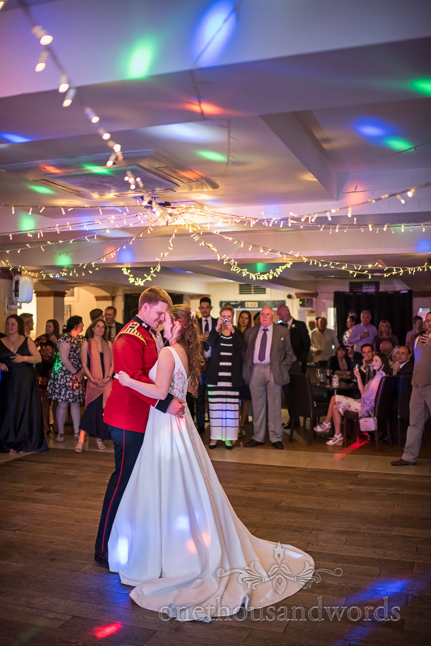 Military Groom and Bride take First Dance on wedding evening at Italian Villa wedding venue in Poole Dorset Photograph