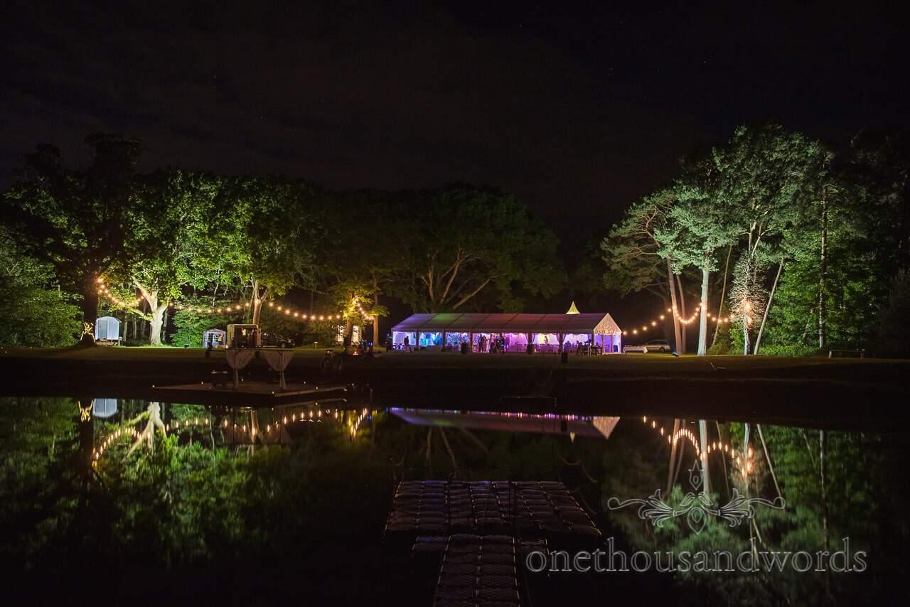 Sopley Lake Wedding Venue Photographs Night Lake Reflection one thousand words wedding photographers at Sopley Lake wedding