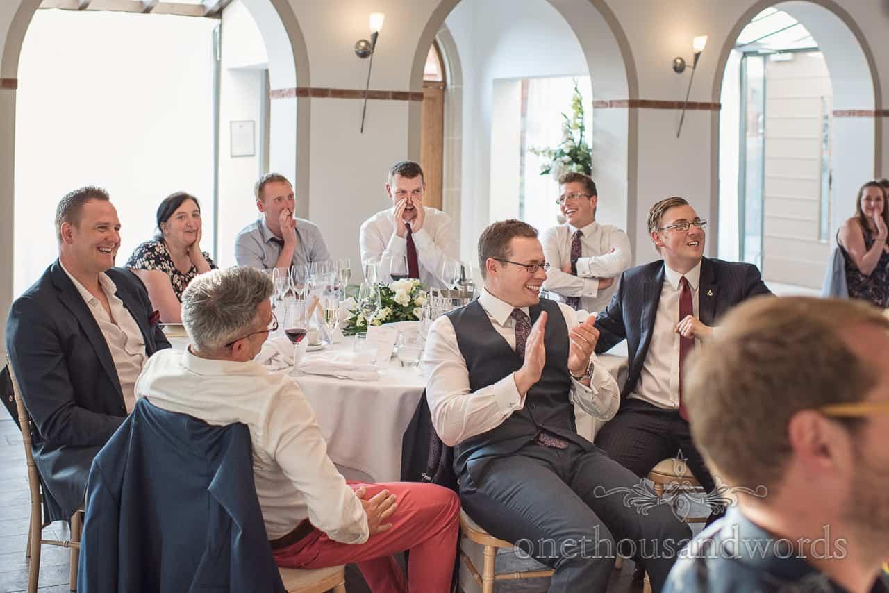 Wedding Guests Heckle and applaud the grooms wedding Speech at The Italian Villa Wedding Breakfast