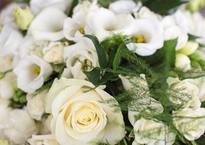 White and Cream Wedding Flower with green foliage Bouquet Close Up Wedding Detail Photograph