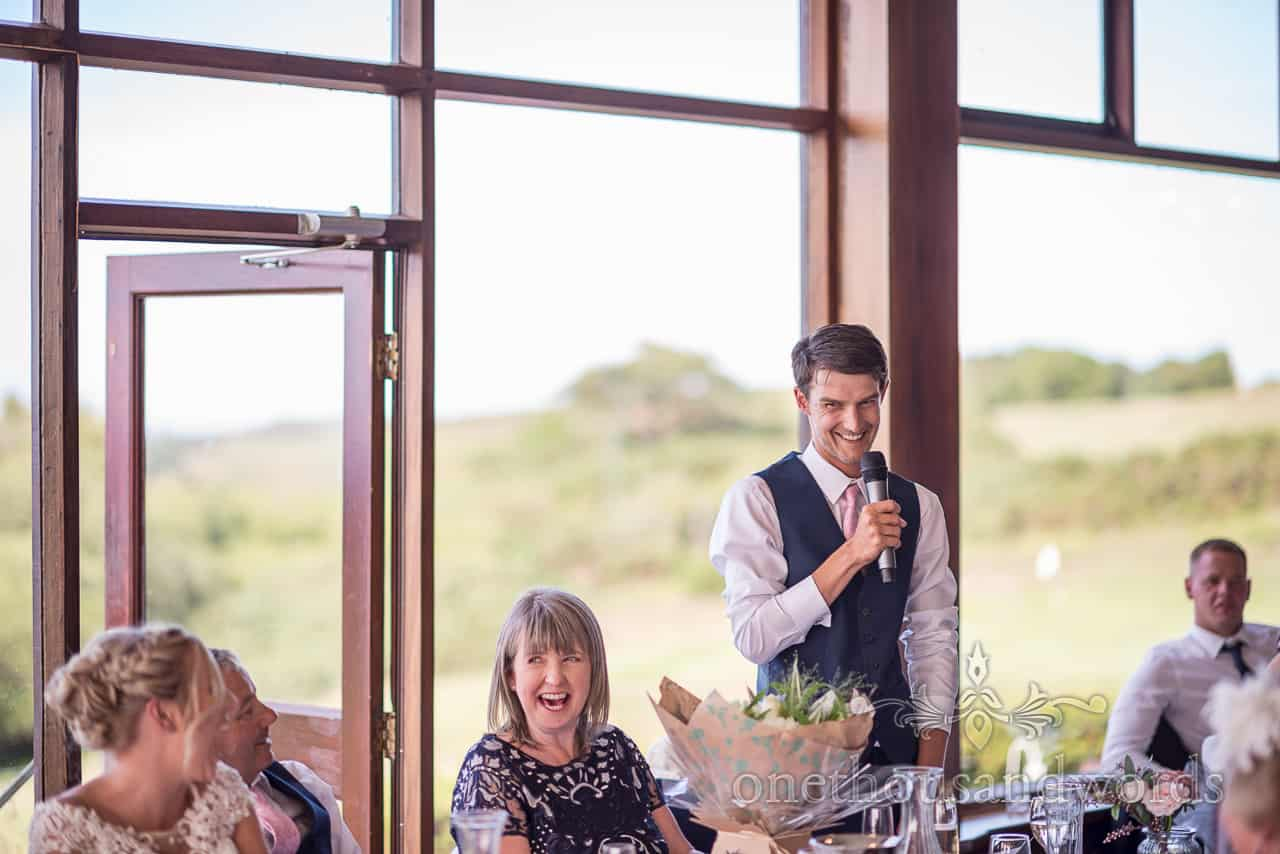 Animated best man makes wedding speech at Purbeck golf club top table