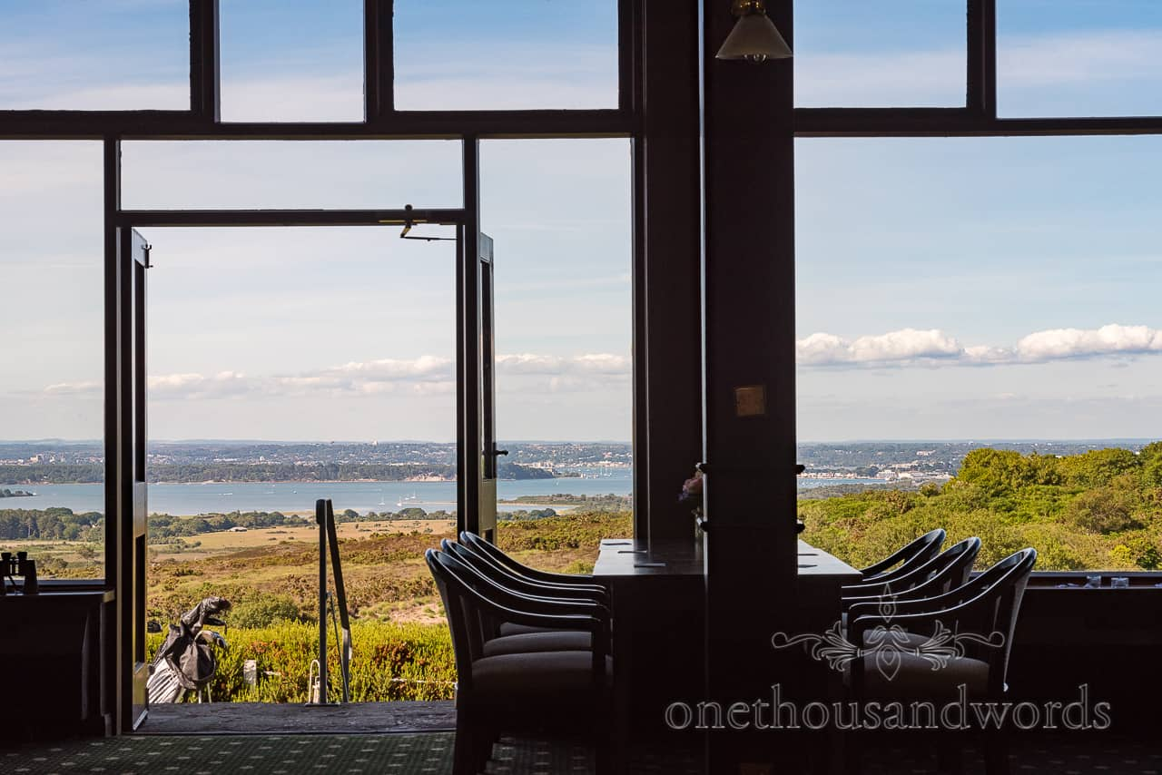 Countryside Poole harbour view from Purbeck Golf Club wedding venue in Dorset
