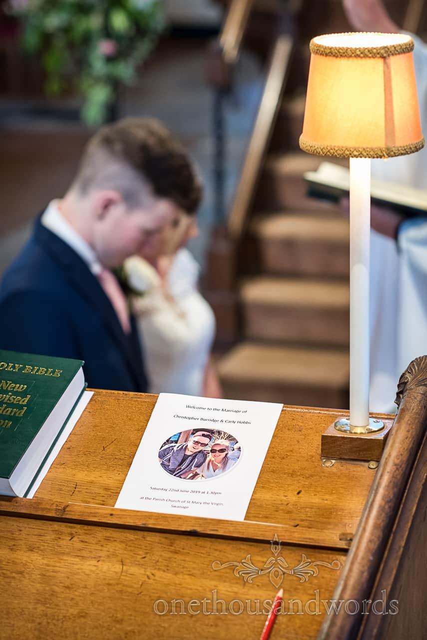 Dorset church wedding ceremony order of service during wedding prayers