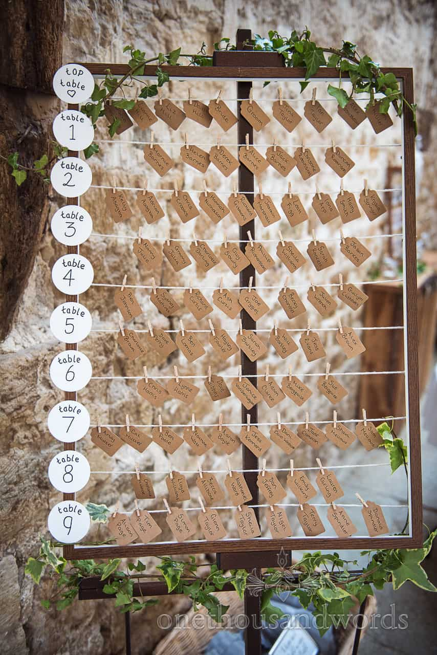 DIY label and string table plan made with wooden frame, card name tags and Ivy