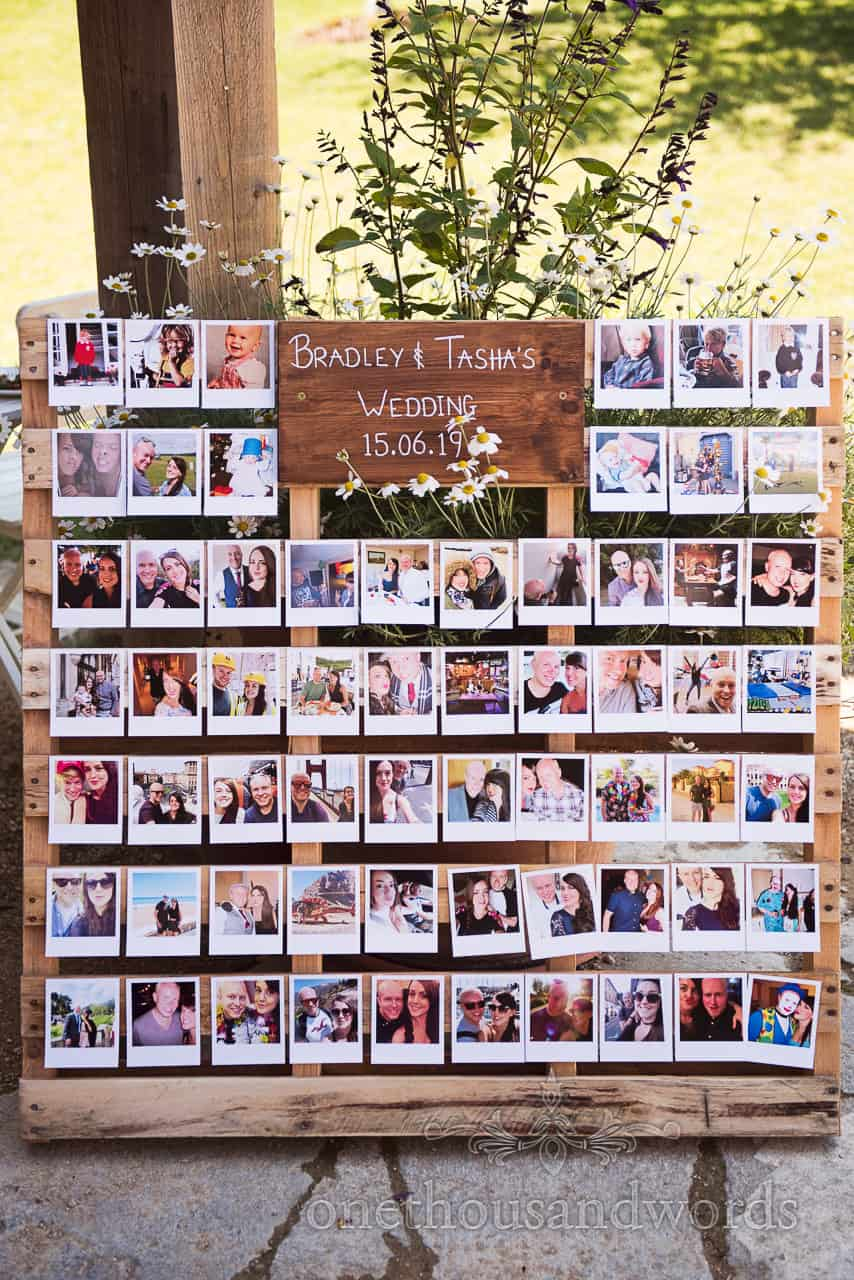 Polaroid photographs used to make a personalised wedding sign with a wooden pallet DIY idea