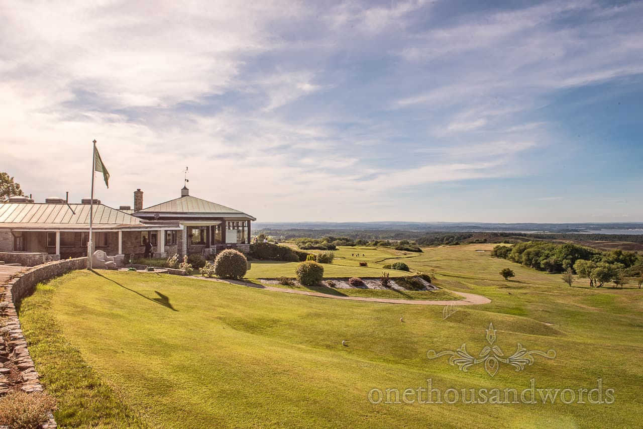 Purbeck Golf Club wedding photograph taken at Dorset countryside wedding venue on a bright summer's day with blue skies