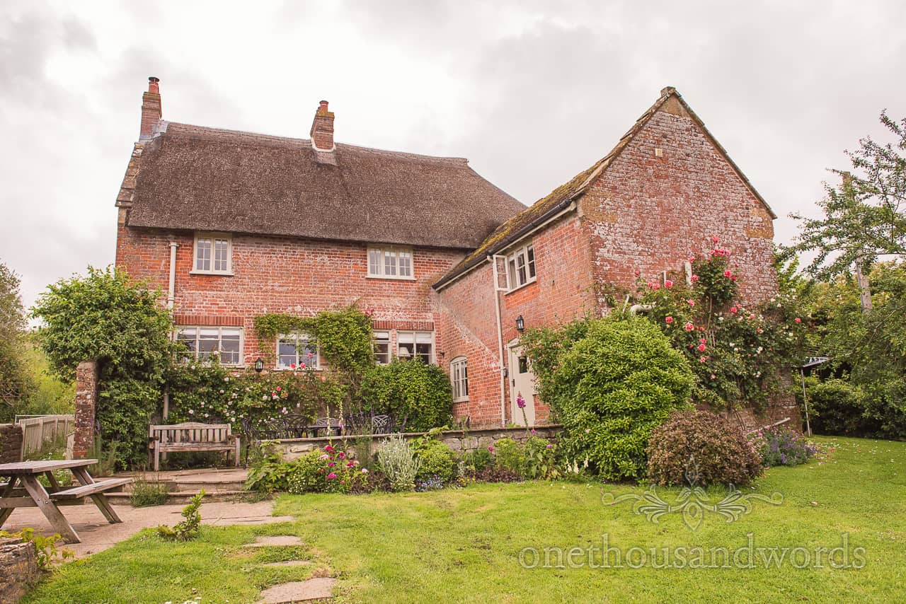 Symondsbury Estate cottage wedding morning preparation venue in Dorset countryside for Tithe Barn Dorset Wedding
