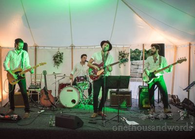 Four piece wedding band perform at Studland Bay House Dorset marquee wedding venue