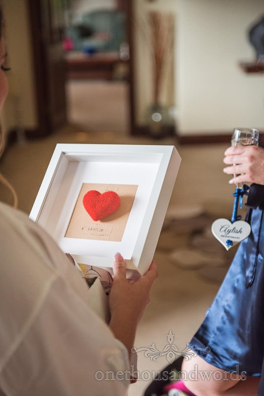 Wedding morning gift of framed hand made red felt love heart with ink stamped wedding date picture