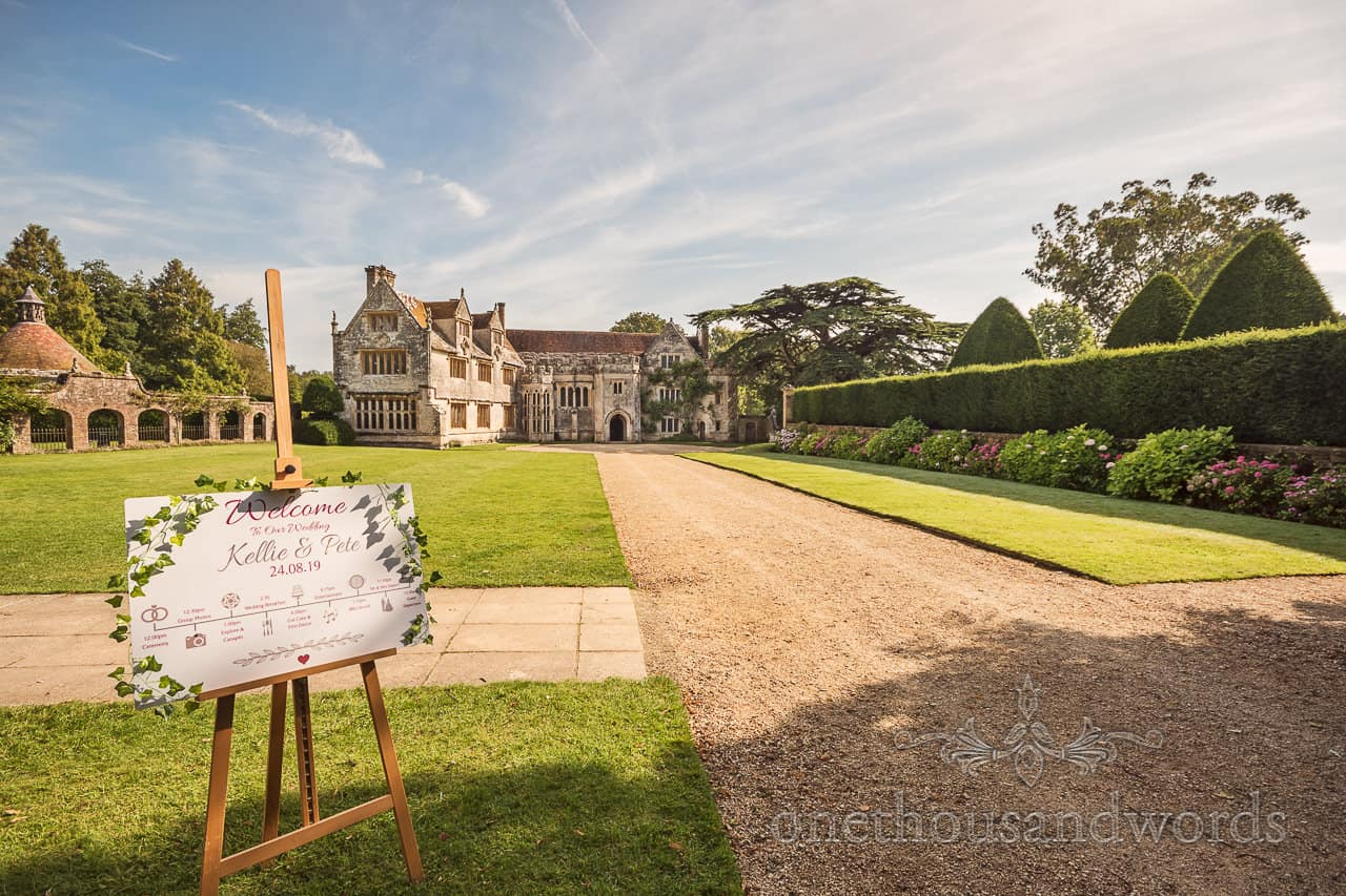 Welcome sign from Athelhampton House wedding venue photographs