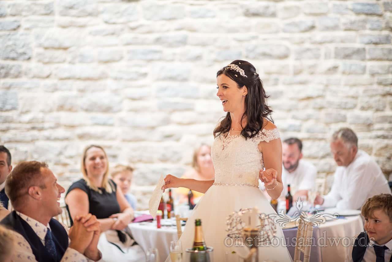 Bride delivers speech at Purbeck castle wedding reception
