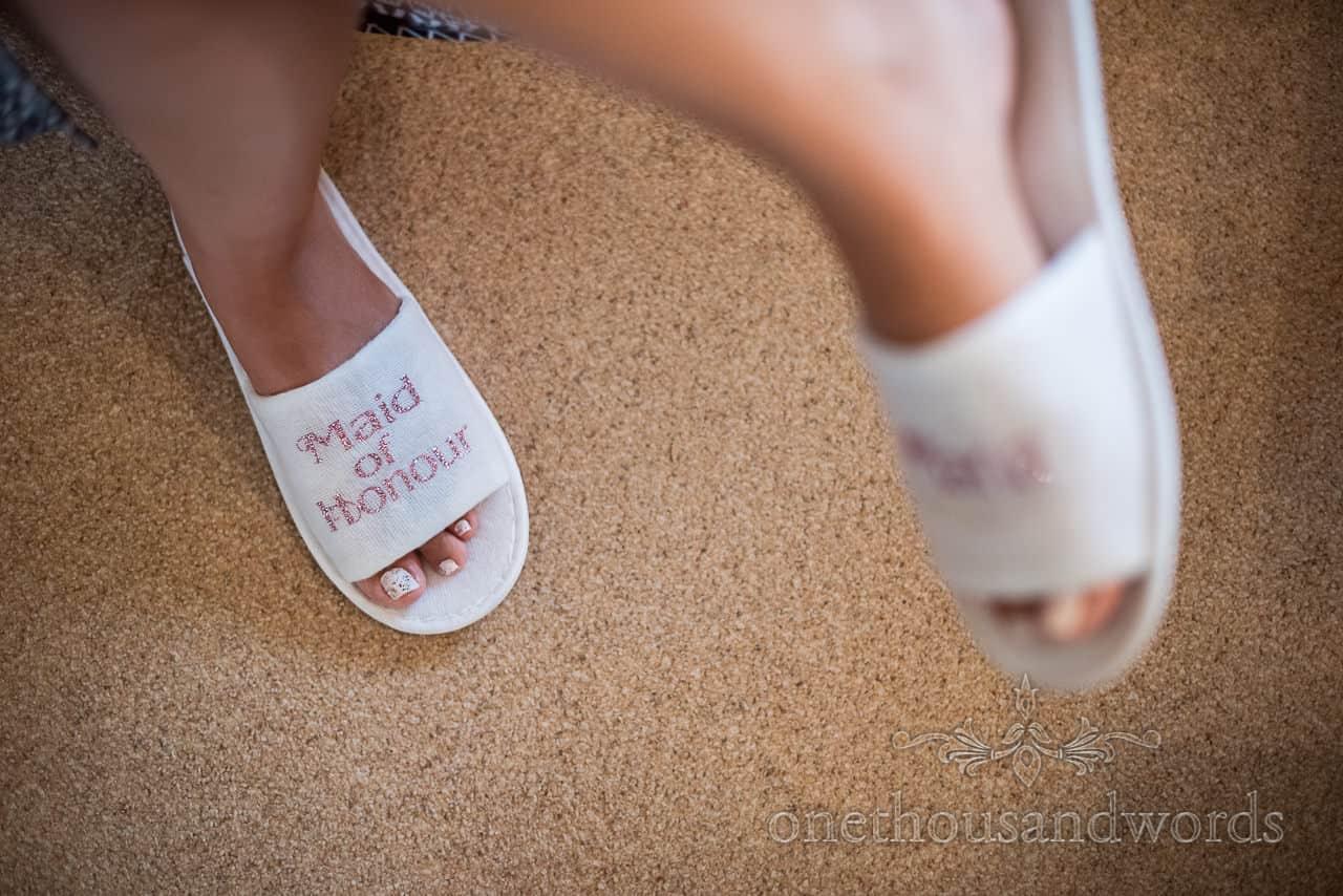 Custom pink glitter script on white maid of honour wedding morning slippers matching pink glitter nail polish