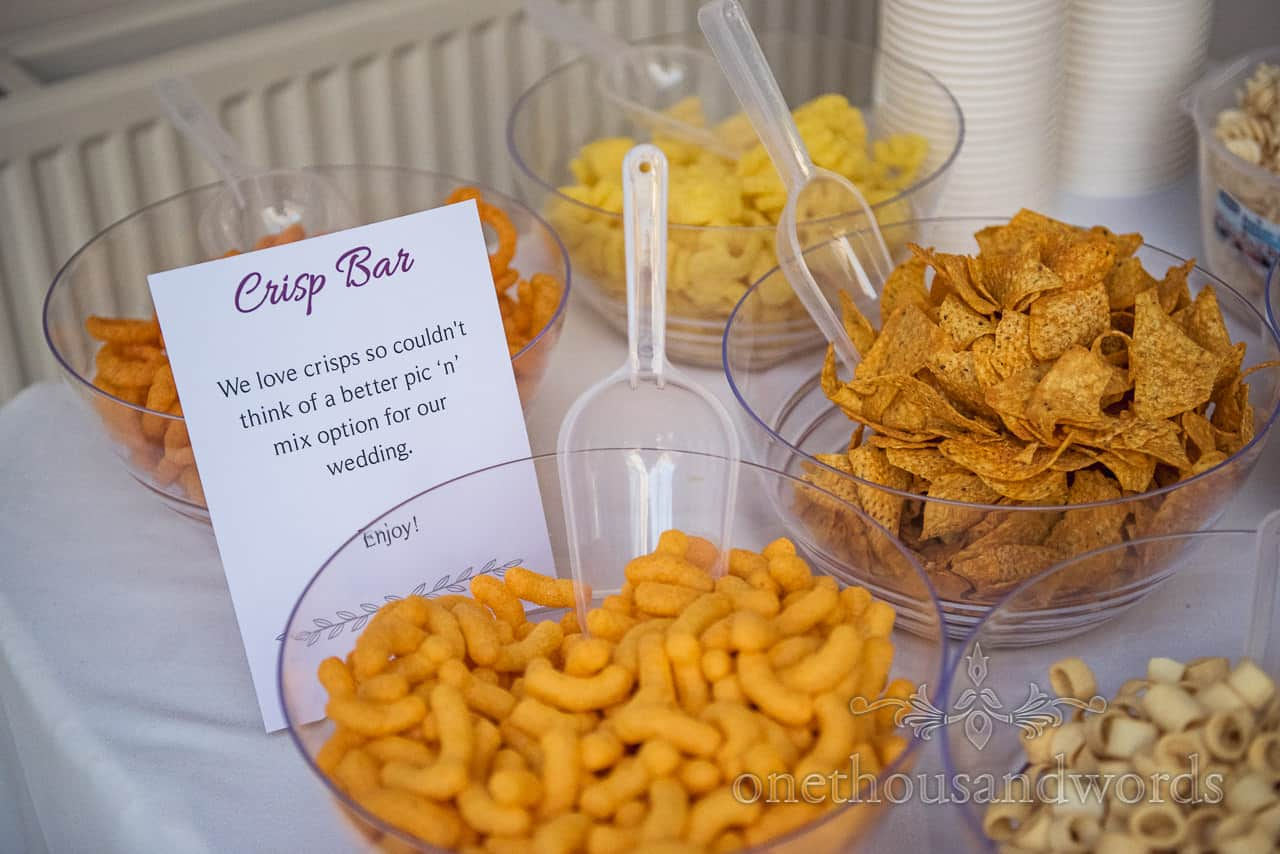 Detail wedding photograph of wedding crisp bar for evening snacks image by one thousand words documentary wedding photography