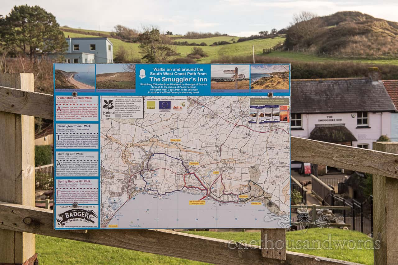 Osmington Mills Smugglers Inn footpath OS map sign photograph by one thousand words wedding photographers in Dorset