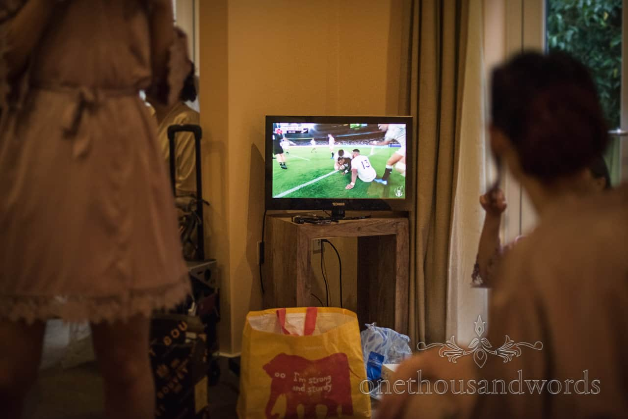 England rugby world cup watched on TV on wedding morning during bridal preparations