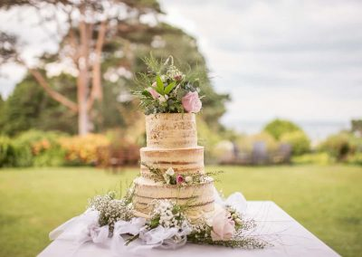 Three tier butter iced naked sponge wedding cake decorated with flowers in garden photographed by one thousand words