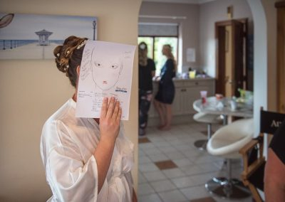 Wedding makeup artist diagram held by bride over face on wedding morning with bridesmaids at home by one thousand words