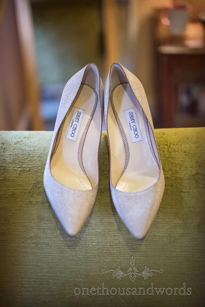 Jimmy Choo pointy toe court pumps as wedding shoes detail photograph by one thousand words wedding photography