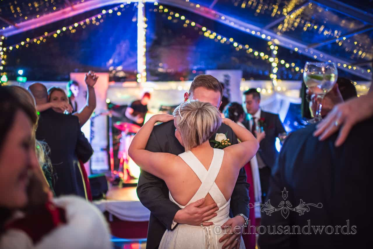 Bride and groom take first dance at Smedmore House marquee wedding reception