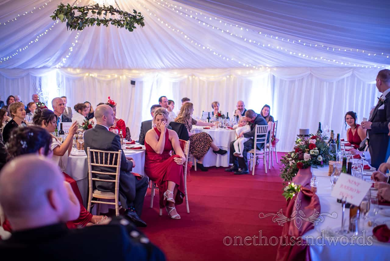 Bridesmaid cries during Smedmore House wedding speech