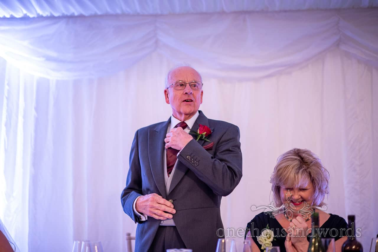 Father of the bride delivers speech at Smedmore House marquee wedding reception