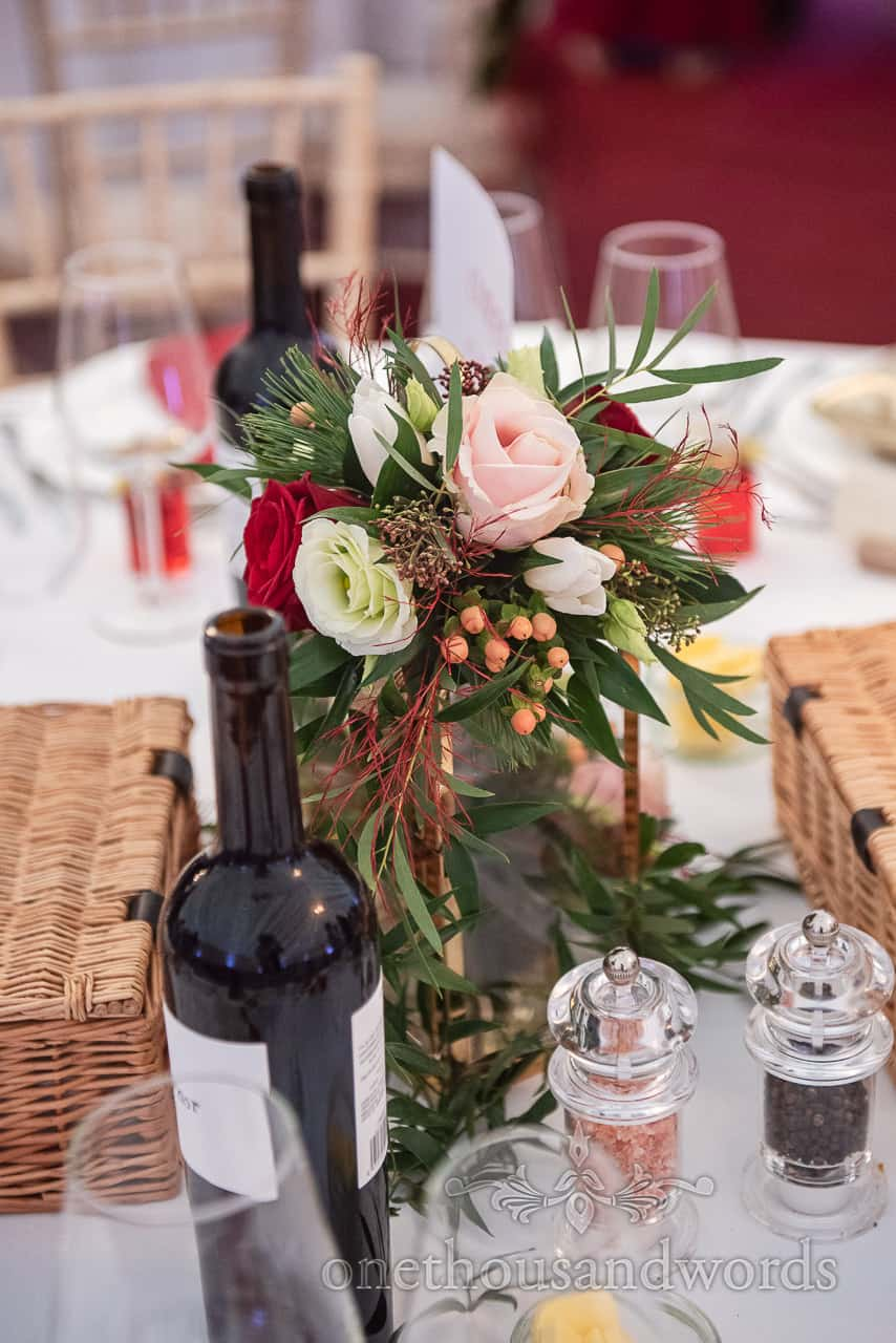 Floral table centerpieces from Smedmore House wedding