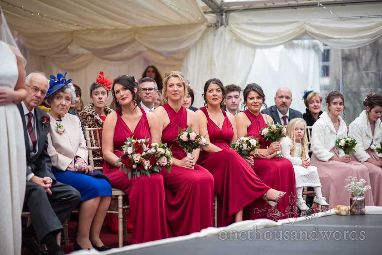 Front row reaction during Smedmore House wedding ceremony