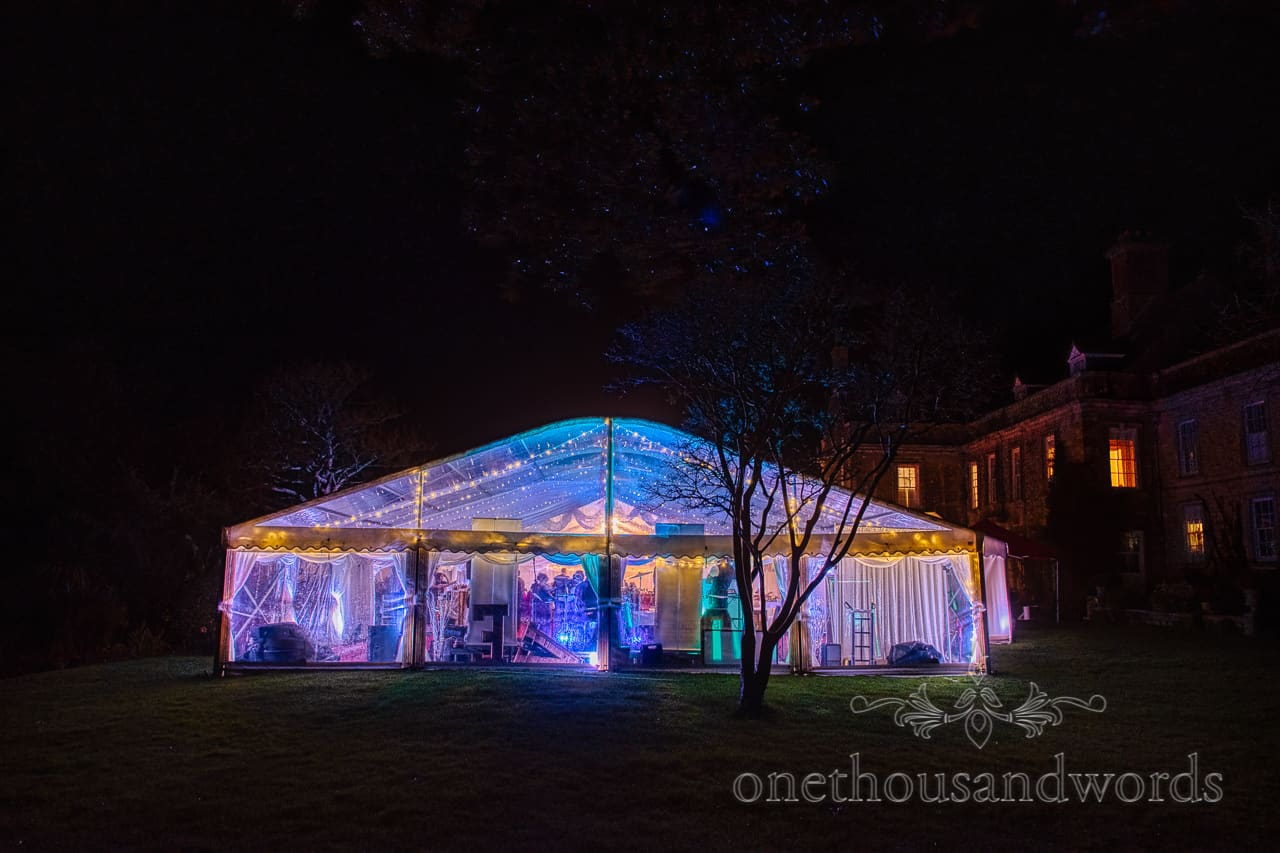 Garden marquee at night from Smedmore House wedding