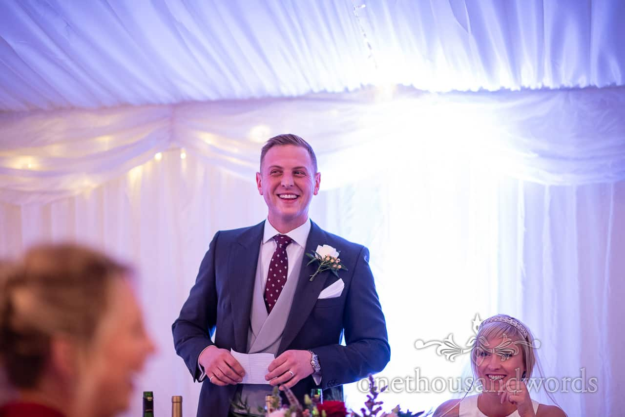 Groom delivers speech at Smedmore House wedding reception