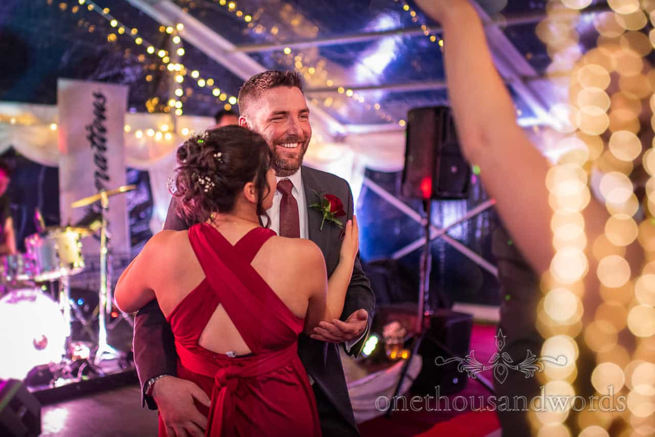 Groomsman and bridesmaid dance at Smedmore House wedding reception