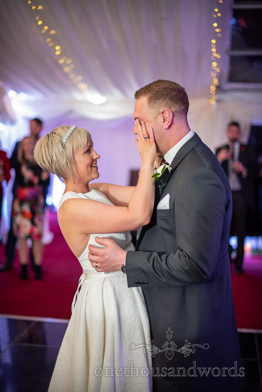Newlyweds first dance at country house marquee wedding