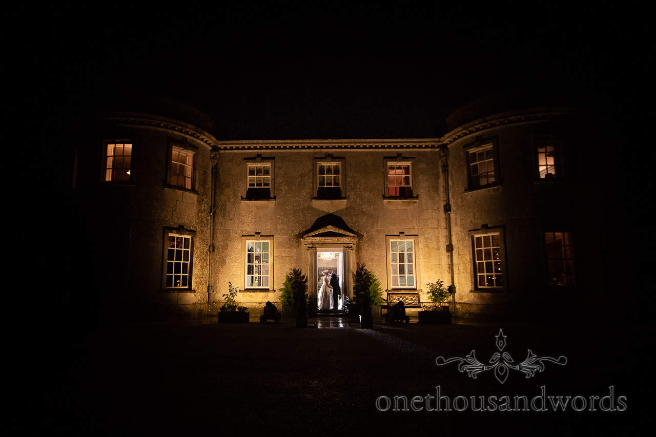 Night time bride and groom Smedmore House wedding photographs