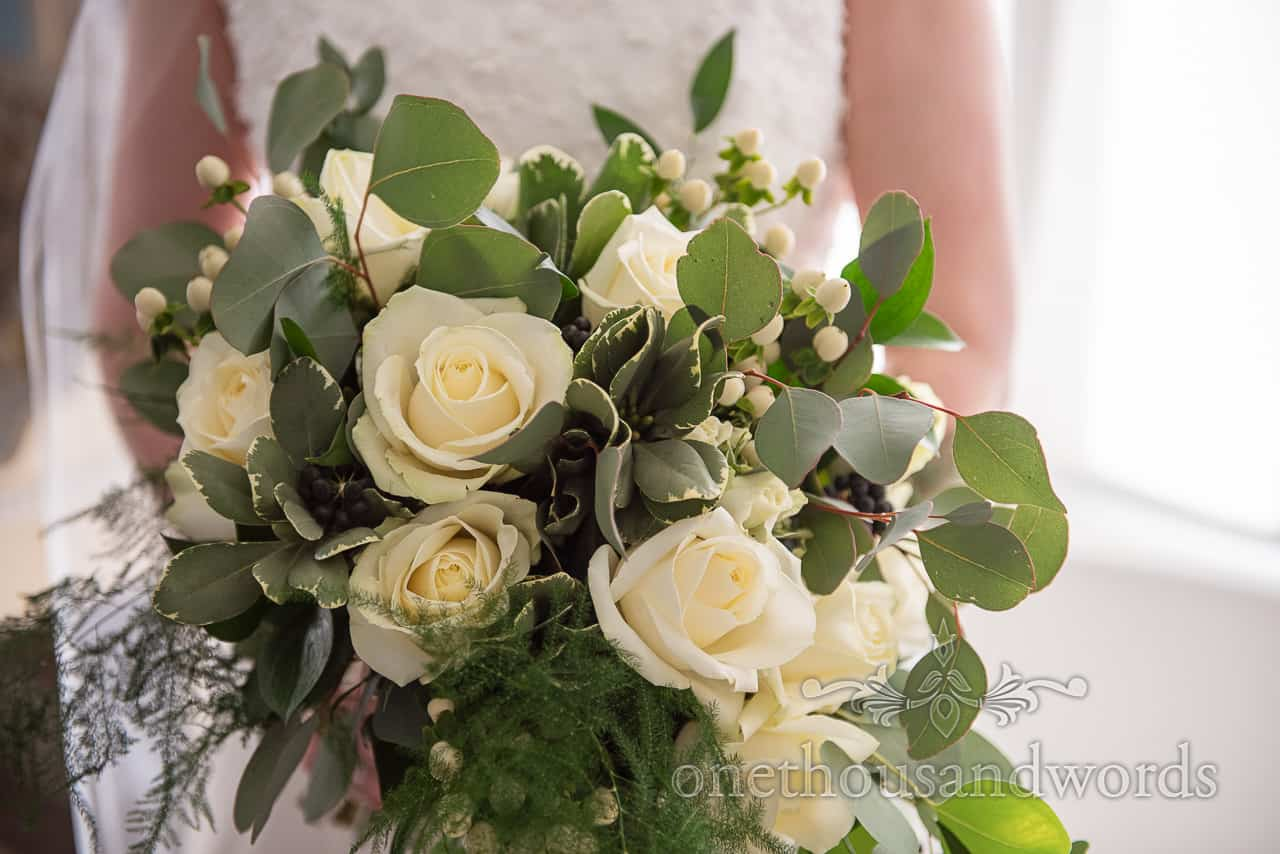 Yellow and green bridal bouquet from Lulworth Estate wedding photographs