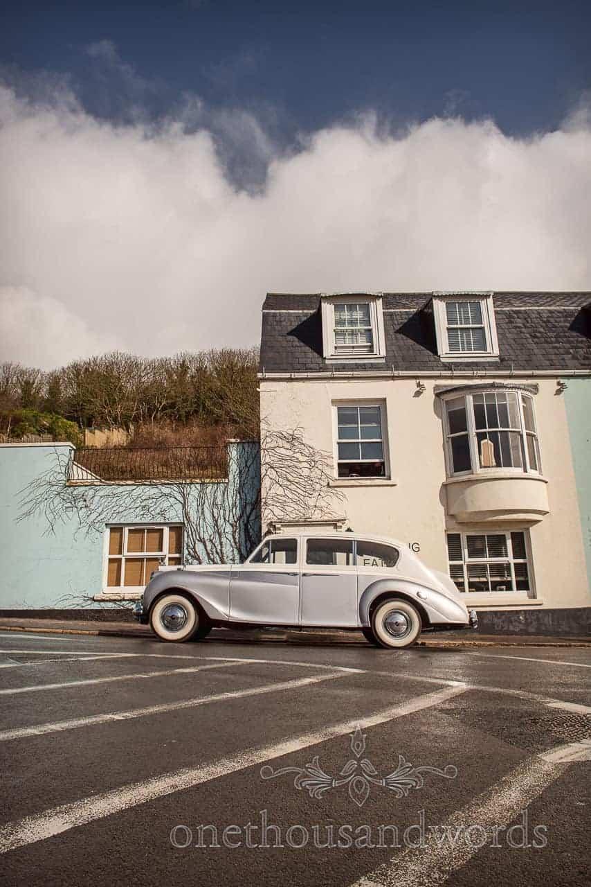 Silver classic princess wedding car at Lulworth Cove Inn