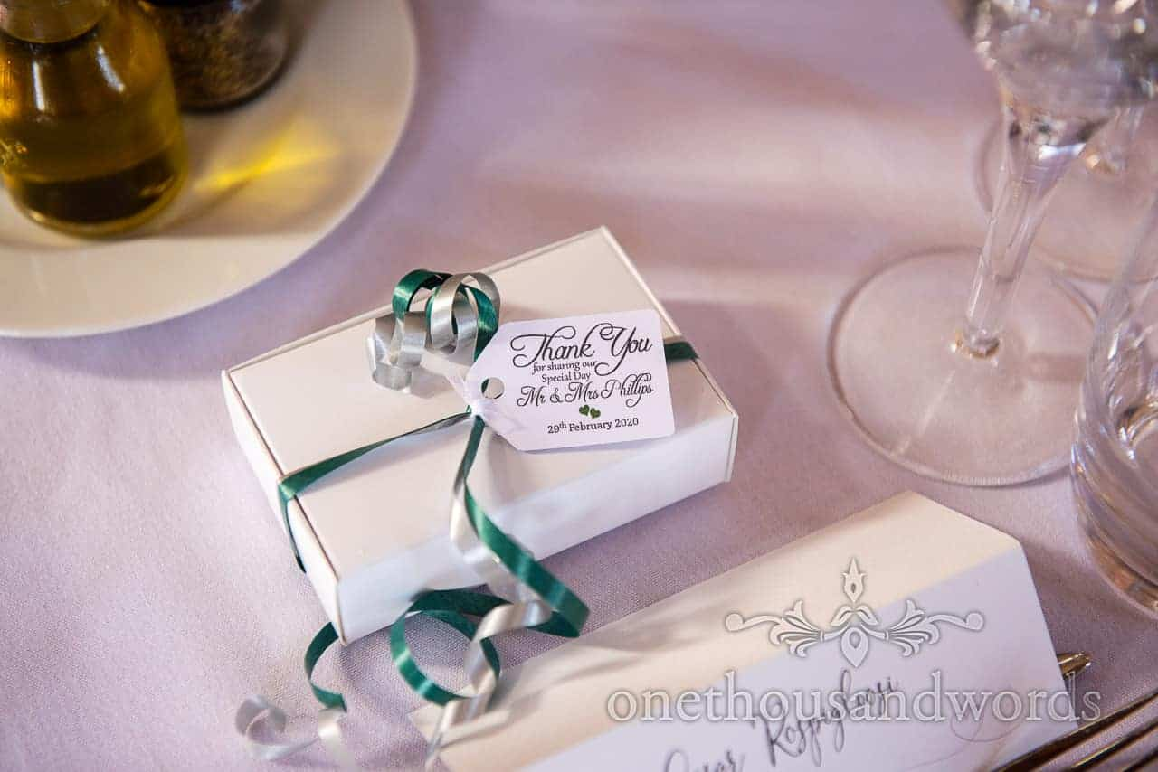 Favors For The Guests At Lulworth Castle Wedding Reception