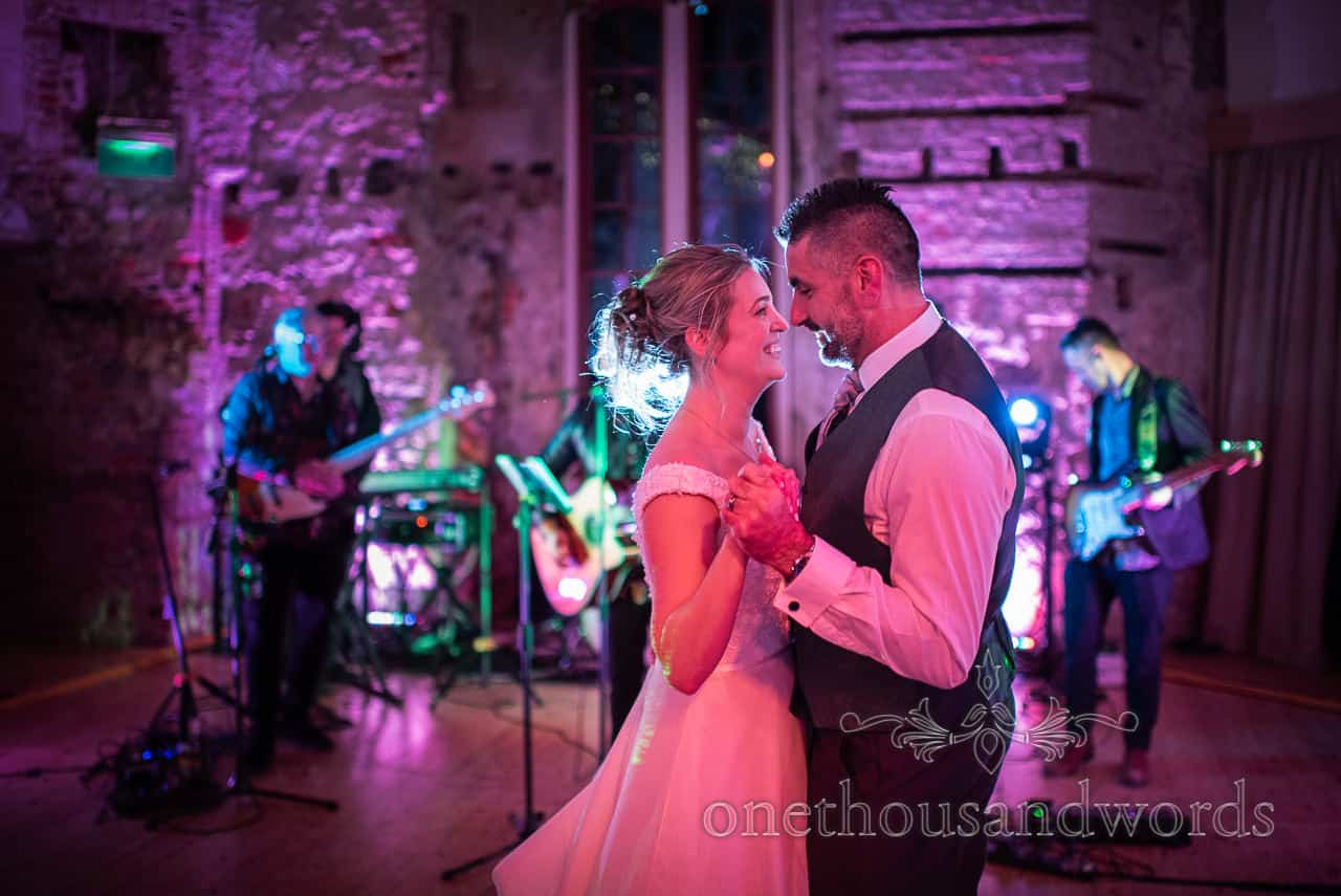 Newlyweds take first dance at Lulworth Estate wedding photographs