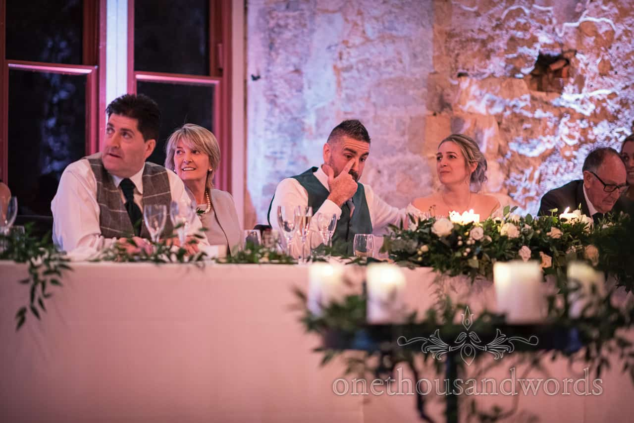 Groom gets a bit emotional during speeches at Lulworth Estate wedding photographs