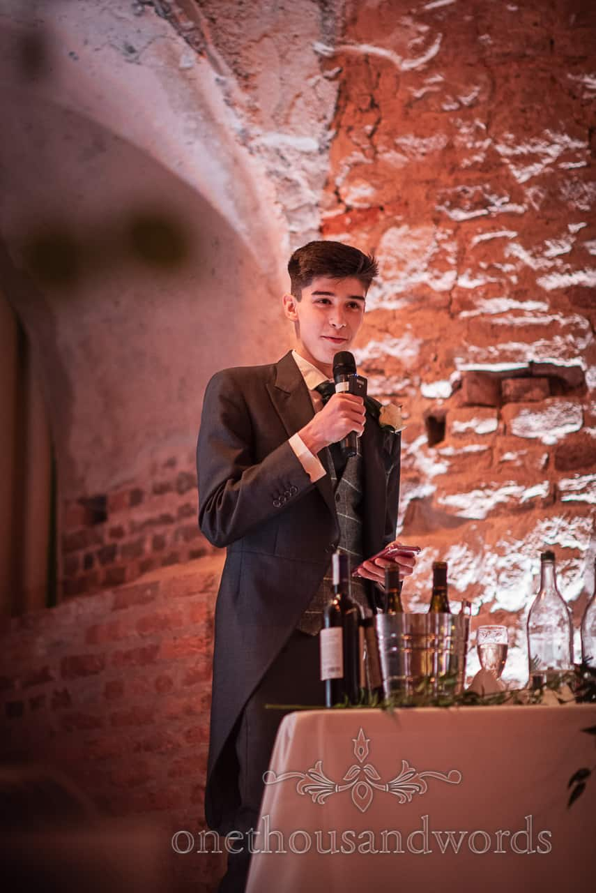 Grooms son delivers speech at Lulworth Castle wedding reception