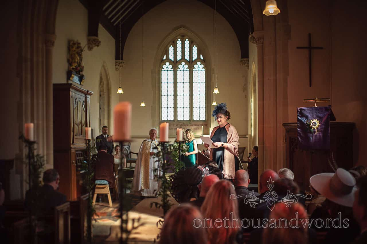 Guest delivers reading at Lulworth Estate church wedding