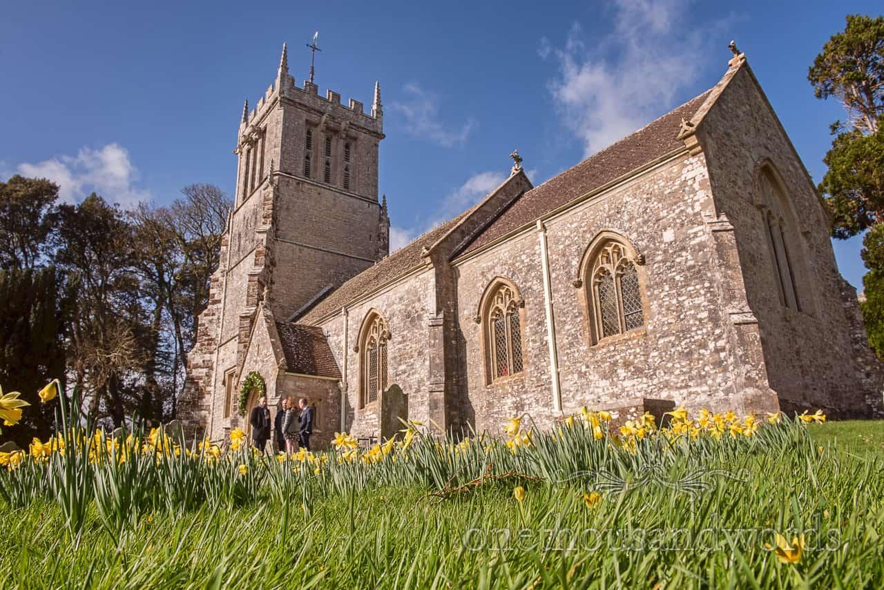 Lulworth Estate church exterior wedding photographs