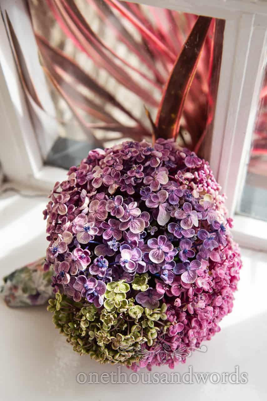 Blue, purple and green Bigleaf Hydrangea flowers bouquet photograph