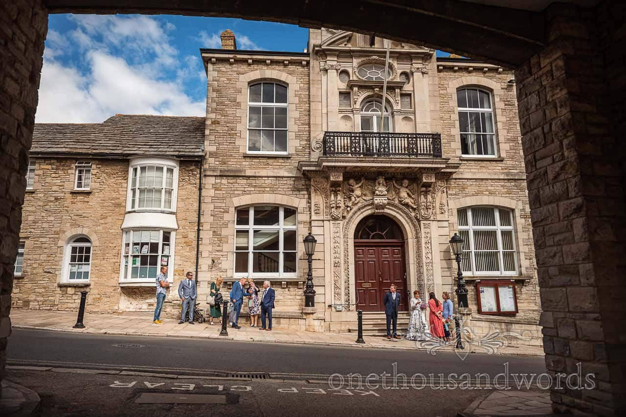 Wedding party outside Swanage Town Hall wedding venue in Dorset