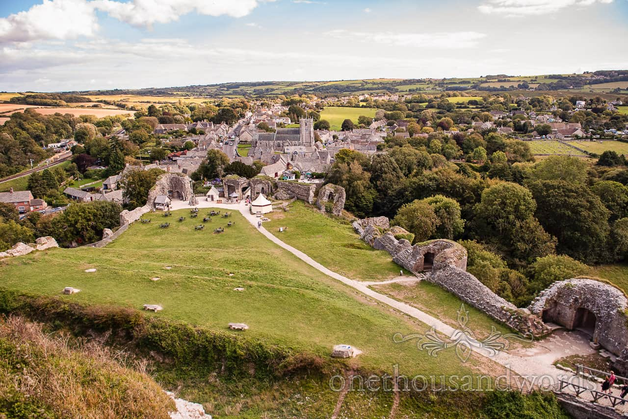 View across Corfe village and surrounding countryside from the top of Corfe Castle, Dorset