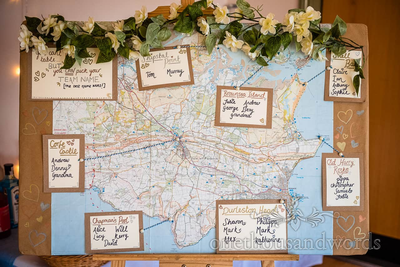 Isle Of Purbeck wedding map seating table plan with flowers