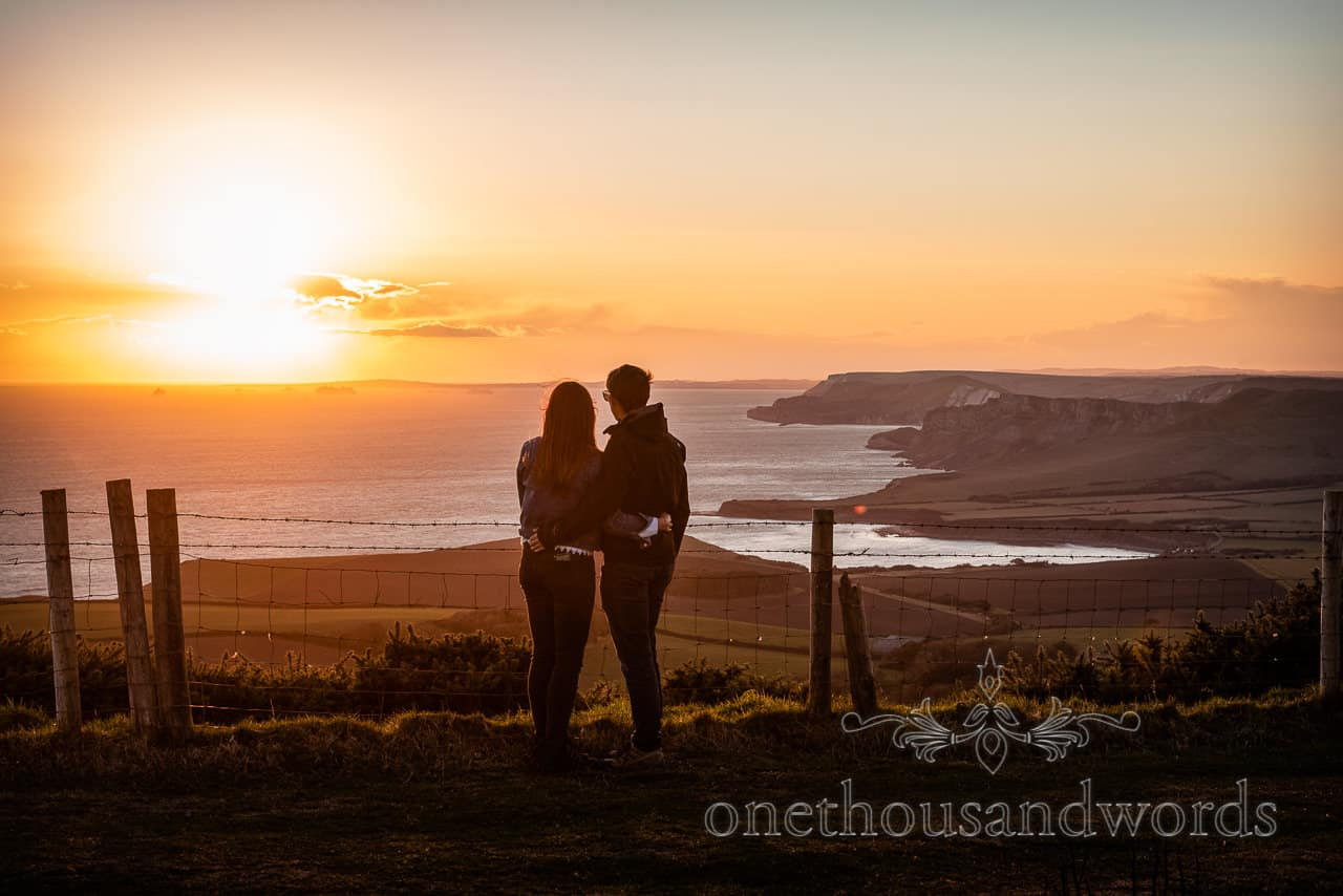 Coastal view form Swyre Head engagement photographs in Dorset