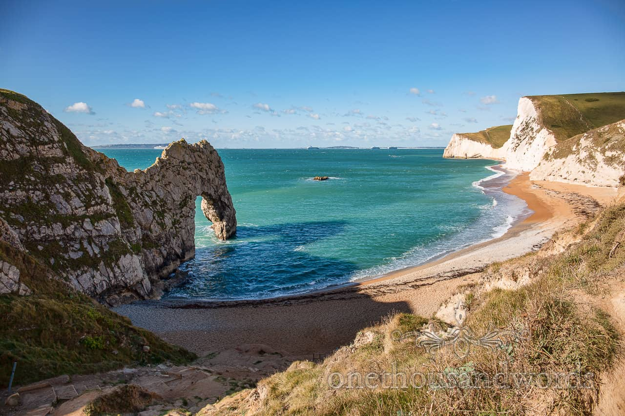 Durdledoor famous stone archway in Dorset sea