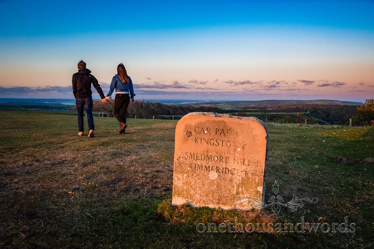 Purbeck stone footpath sign to Smedmore house at engagement photo shoot