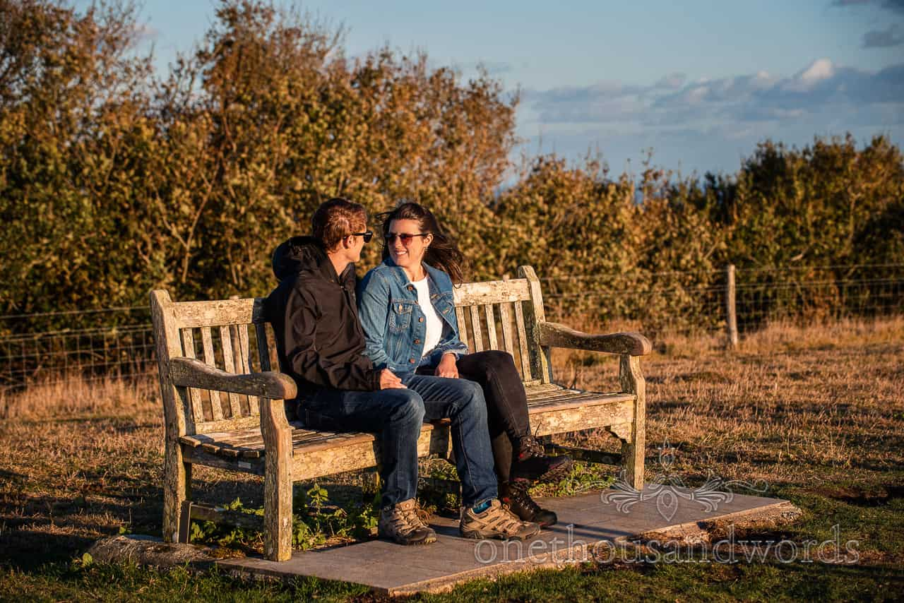 Swyre Head engagement couple on bench