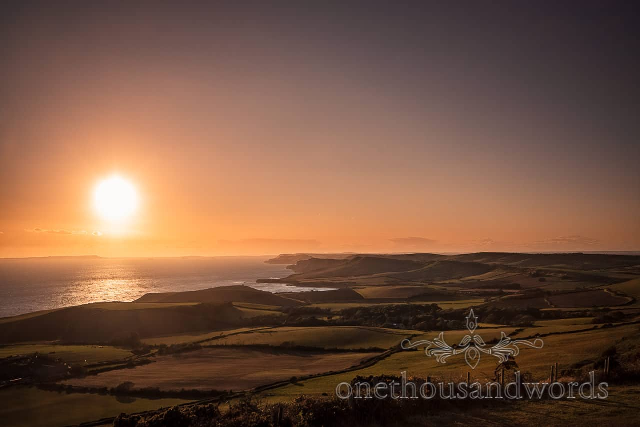 View across Dorset coast from Swyre Head engagement photographs