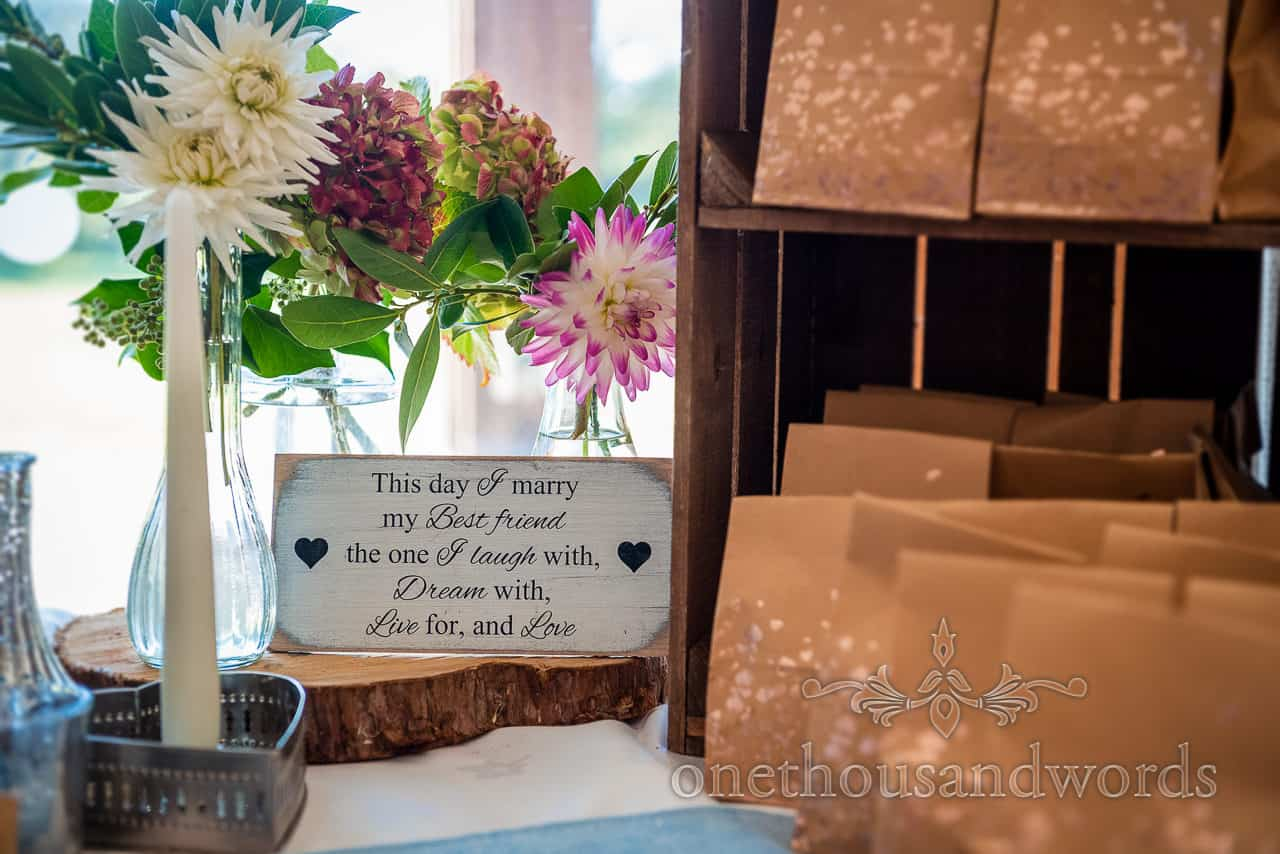 Village hall wedding photographs This is the day I marry my best friend sign table decoration
